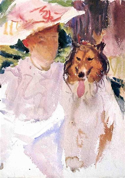 Woman with Collie, c.1901 - c.1925 - John Singer Sargent