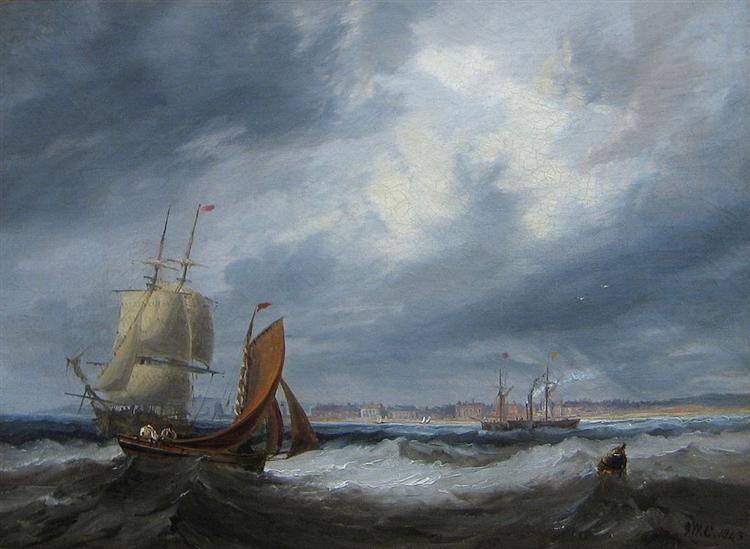 Shipping off Seaham by John Wilson Carmichael, 1843 - John Wilson Carmichael