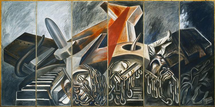 Dive Bomber and Tank, 1940 - Jose Clemente Orozco
