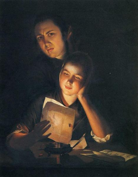 A Girl reading a letter by Candlelight, with a Young Man peering over her shoulder, 1762 - Joseph Wright
