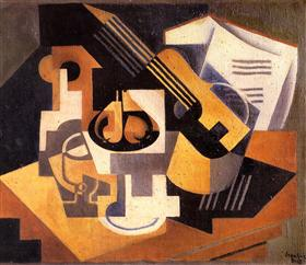 Guitar and Fruit Bowl on a Table - Juan Gris