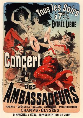 Concert des Ambassadeurs, Champs-Élysées, 1900 - Jules Cheret