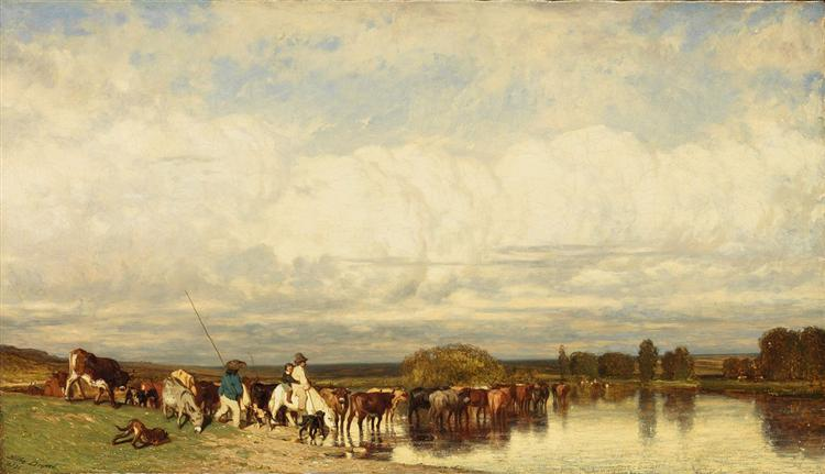 Cows crossing a ford - Jules Dupre