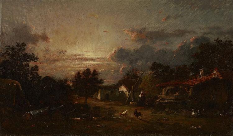 Village Scene, Sunset, 1870 - Jules Dupre