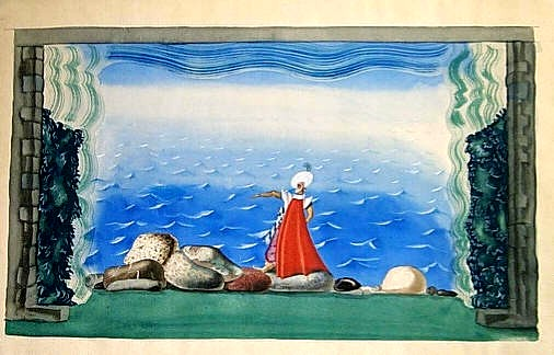 A Buccaneer on the seashore. Stage set., 1921 - Jury Annenkov
