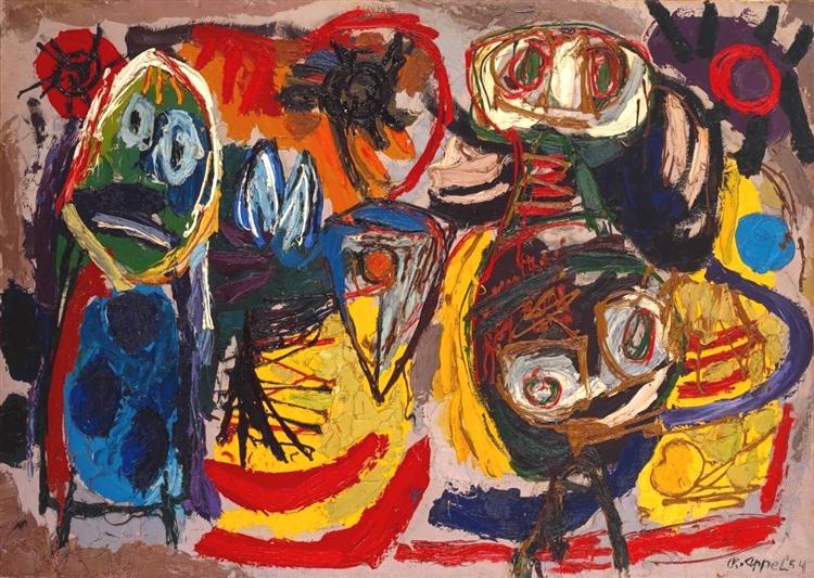 People, Birds and Sun, 1954 - Karel Appel