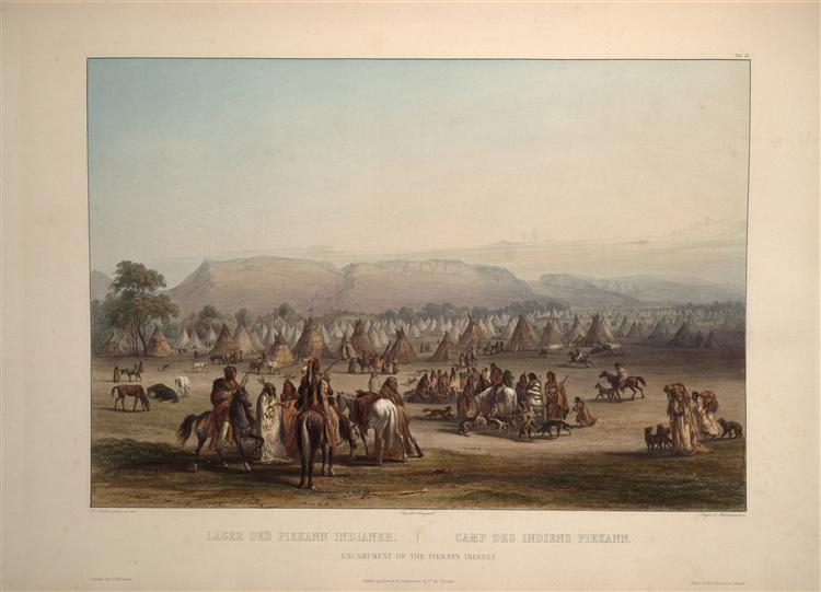 Encampment of the Piekann Indians, plate 43 from Volume 2 of 'Travels in the Interior of North America', 1844 - Karl Bodmer