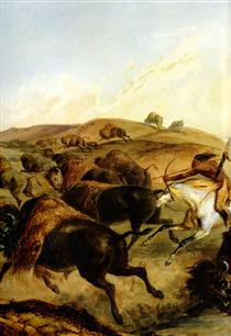 Indians Hunting The Bison [ Left ] - Karl Bodmer