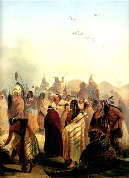 Scalp Dance of the Minatarres, 1832 - Karl Bodmer