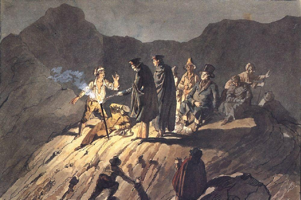 Participants of the expedition to Mount Vesuvius, 1824