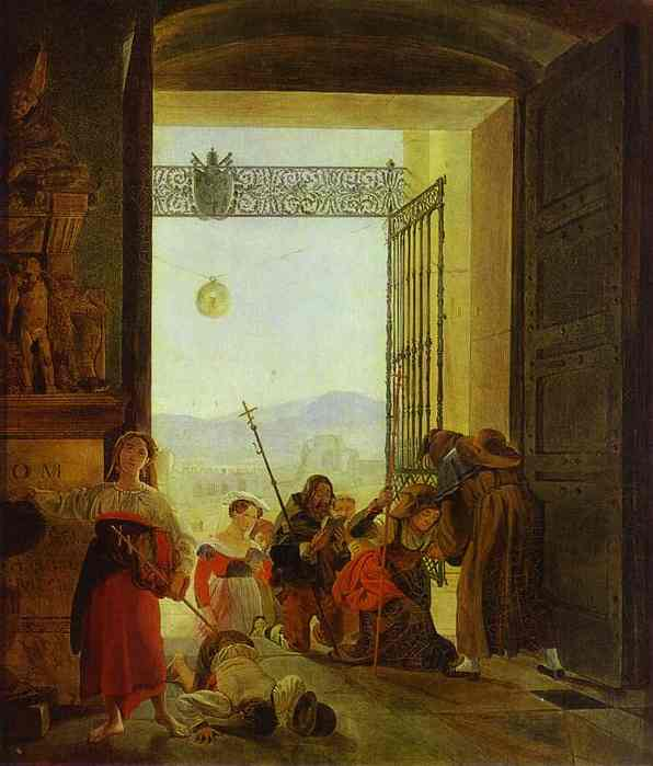 Pilgrims at the Entrance of the Lateran Basilica, 1825
