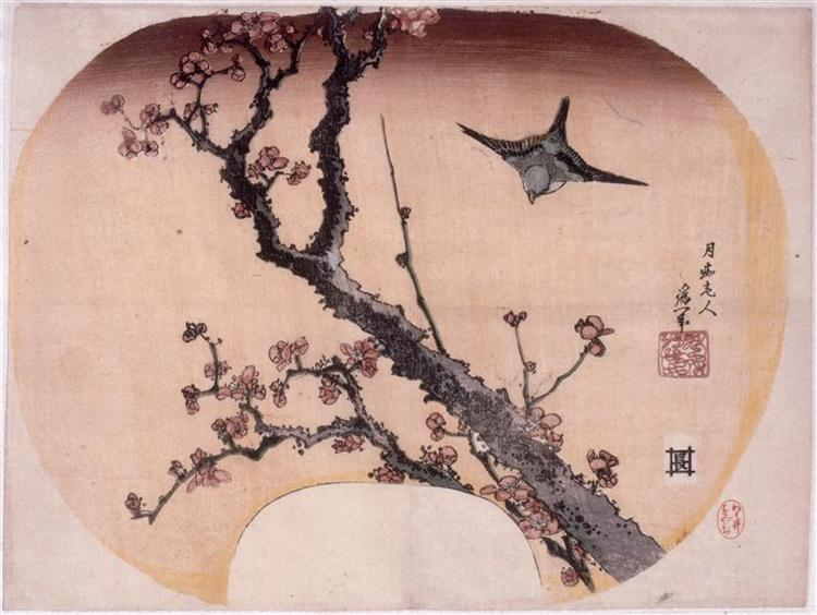 Cherry Blossoms and Warbler, 1827 - Кацусика Хокусай