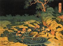 Pesca di fiaccole nella provincia di Kai, da Oceans of Wisdom - Katsushika Hokusai