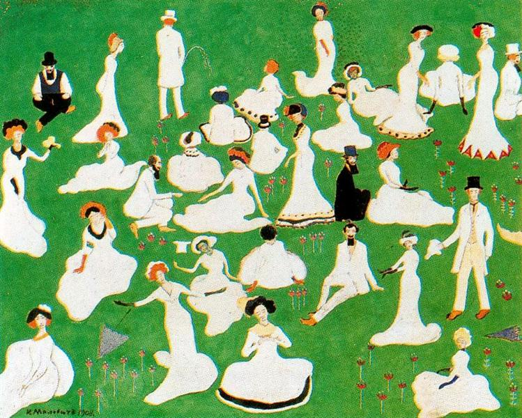 Rest. Society in Top Hats, 1908 - Kazimir Malevich