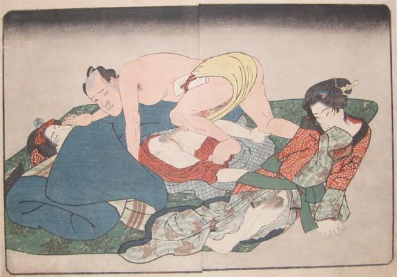 Yabai with Two Women, 1840 - Keisai Eisen