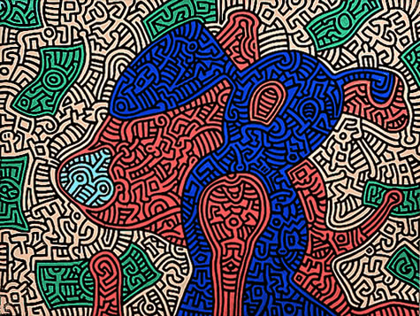 Piglet Goes Shopping, 1989 - Keith Haring