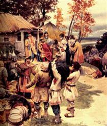 Russian knyaz Igor exacts tribute from the Drevlyans in 945 - Klavdi Lébedev