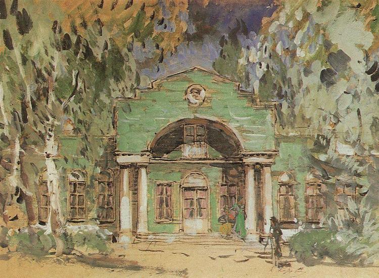 The Larin`s Garden. Sketch of set for P. Tchaikovsky`s opera, 1908 - Konstantin Korovin
