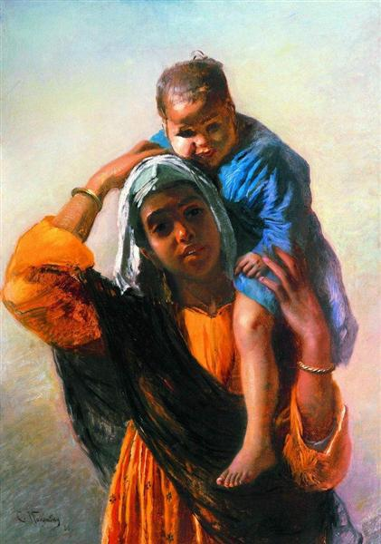 Eastern Woman with a child, 1880 - Konstantin Makovsky