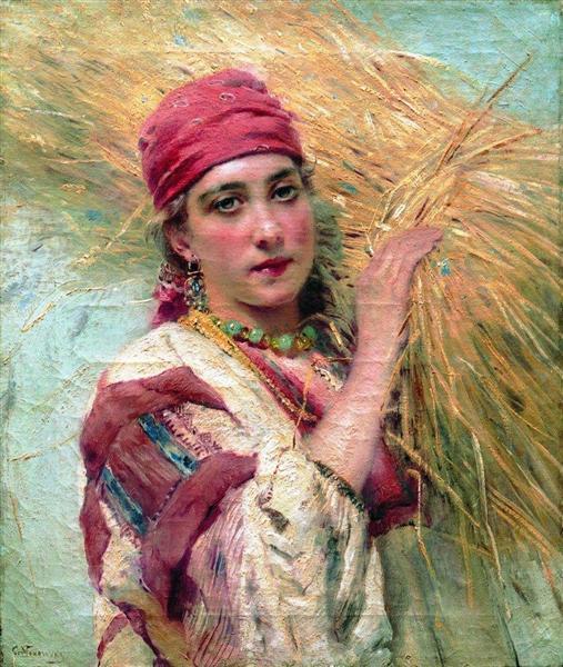 Girl with a sheaf, c.1880 - Konstantin Makovsky