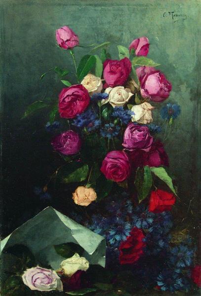 Still Life with Roses and Knapweeds, c.1880 - Konstantín Makovski