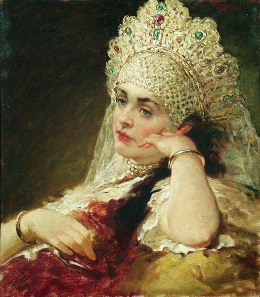 The girl inpearl necklace, c.1880 - c.1890 - Konstantin Makovsky