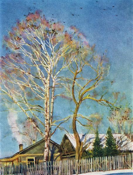 Blue morning. Rooks on the birches. Ligachevo, 1930 - Konstantin Yuon