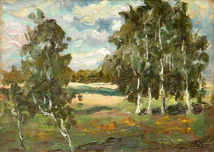 Landscape with Birches - Konstantin Yuon