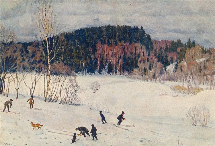 Landscape with Skiers - Konstantin Yuon