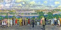 Moscow. View of the Lenin Stadium in Luzhniki - Konstantin Yuon