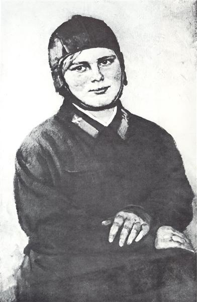 Portrait of pilot-woman M.S. Zimova, 1937 - Konstantin Yuon