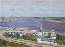 """Sketch for the painting """"Gorky and Shalyapin in Nizhny Novgorod"""" - Konstantin Yuon"""