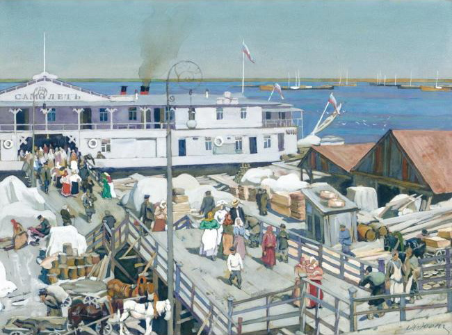 "The Pierce ""Samolyot"" on Volga. Nizhny Novgorod, 1911 - Konstantin Yuon"