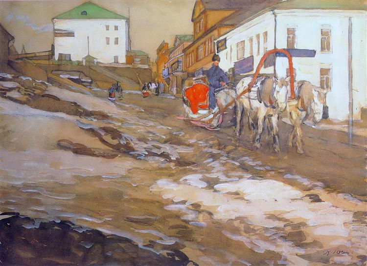 The Red Sled. The Troitse-Sergiyev Tenements, 1903 - Konstantin Yuon