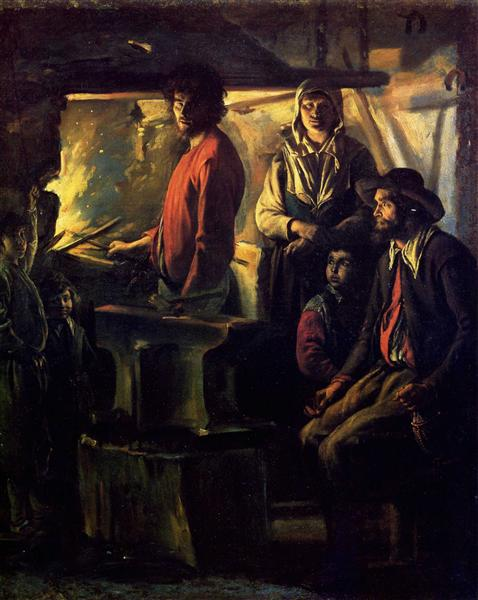 O ferreiro em sua forja, c.1640 - Le Nain (Irmãos Le Nain)