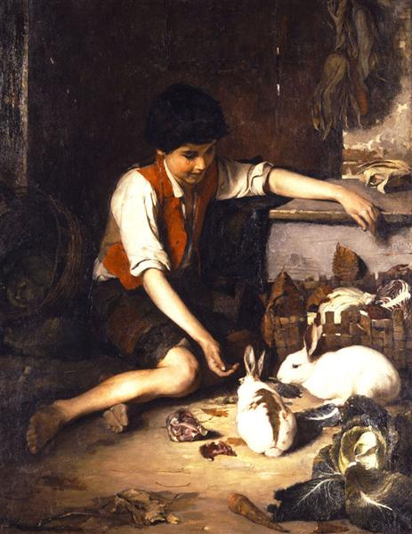 Child with rabbits, 1879 - Polychronis Lembesis