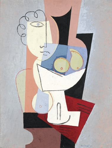 Abstraktes Stillleben mit Figur und Früchteschale - Leo Leuppi