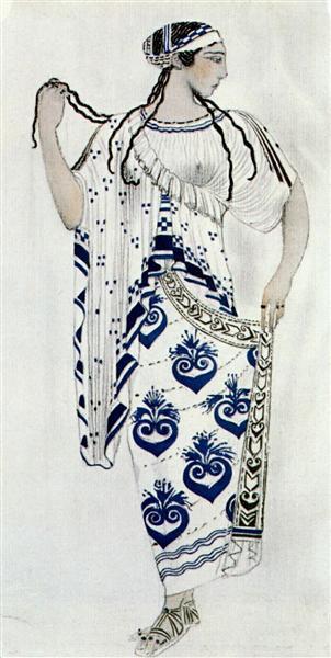 """""""Helene de Sparte"""" - costume for Ida Rubinstein as Helene - Leon Bakst"""