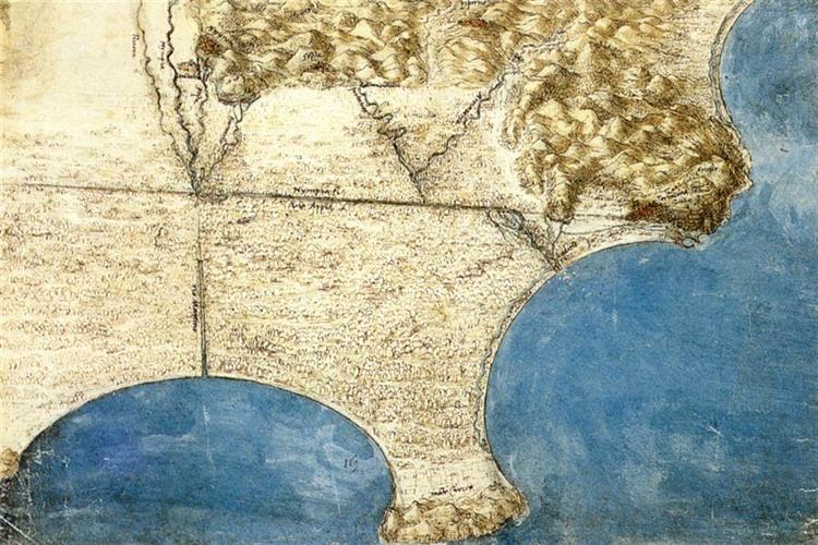 Bird's eye view of sea coast, c.1515 - Leonardo da Vinci