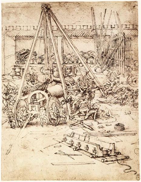 Cannon foundry, 1487 - Леонардо да Винчи