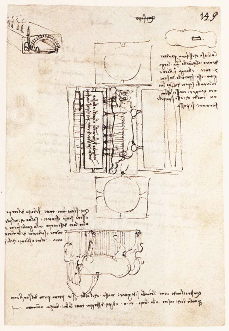 Manuscript page on the Sforza monument, 1493
