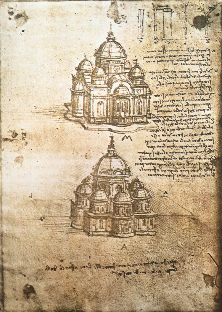 Studies of central plan buildings, 1480