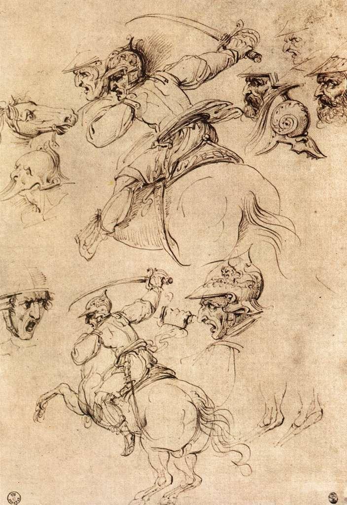 Study of battles on horseback, 1504