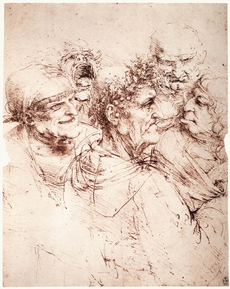 Study of five grotesque heads, 1494