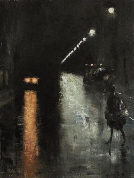 Nächtliche Straßenszene, Berlin, 1920 - Lesser Ury - WikiArt.org