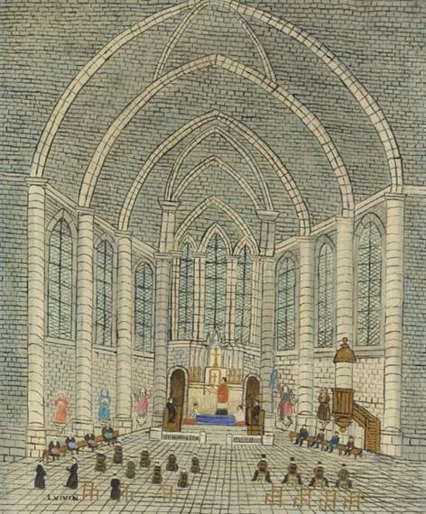 Intérieur d'église - Louis Vivin