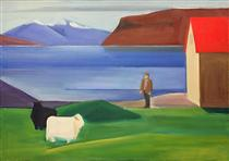 Icelandic Landscape with Sheep, Man and Red Roof - Луїза Маттіасдоттір