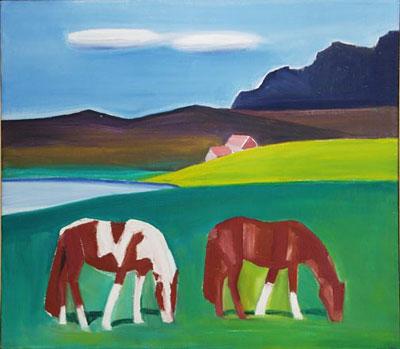 Two Horses in a Landscape - Louisa Matthiasdottir