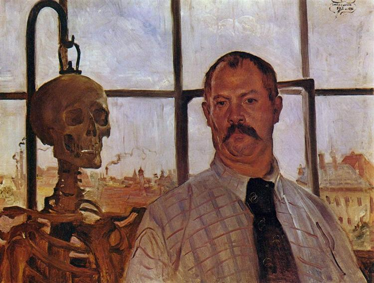 Self-portrait with Skeleton - Ловис Коринт