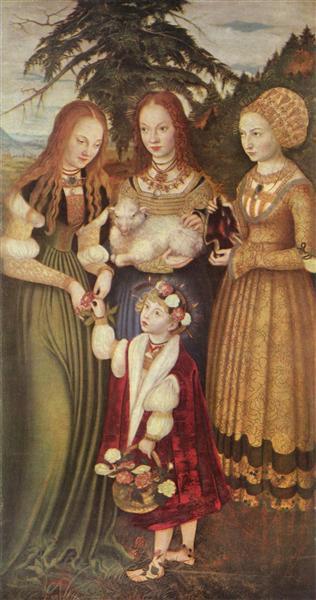 Saints Dorothea, Agnes and Kunigunde, 1506 - Lucas Cranach der Ältere